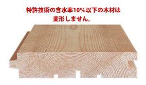 と特許技術の含水率10%以下の木材は変形しません